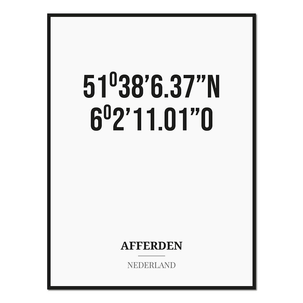 Poster/kaart AFFERDEN met coördinaten