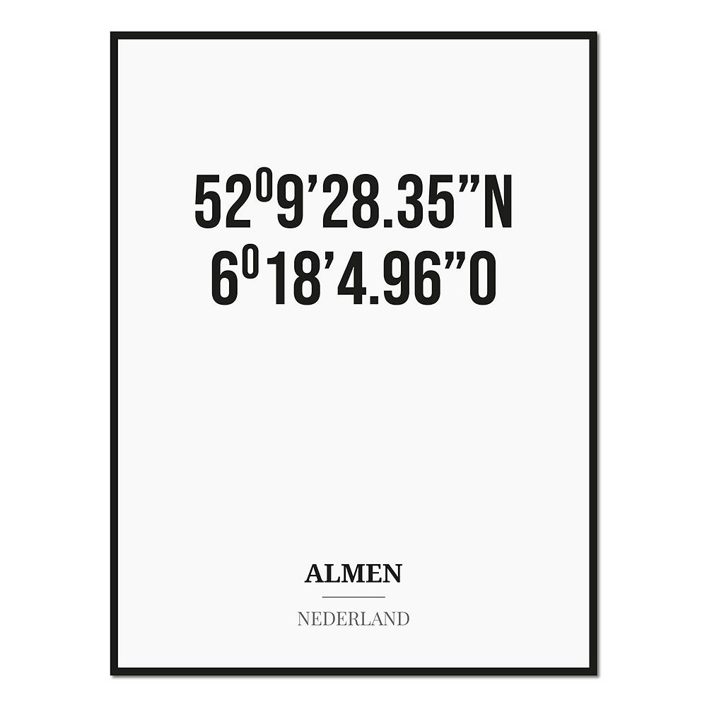 Poster/kaart ALMEN met coördinaten