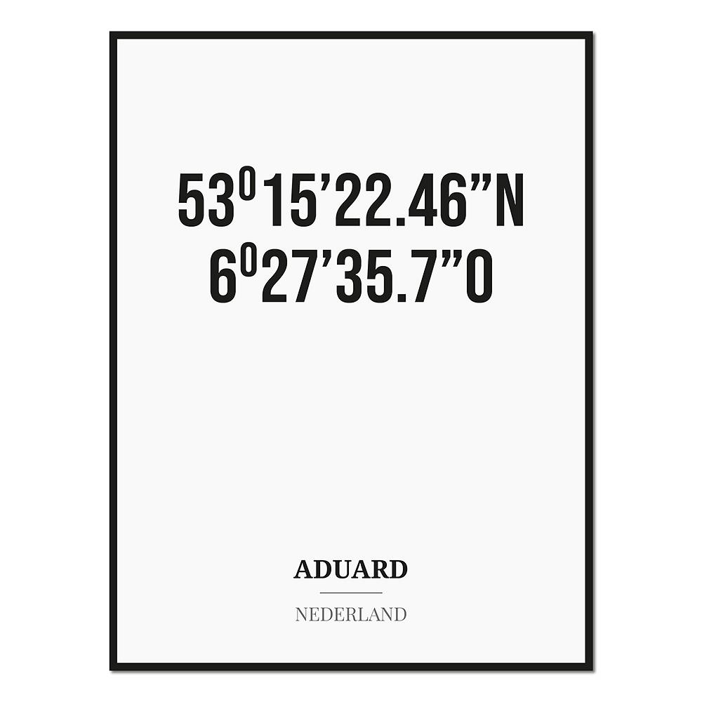 Poster/kaart ADUARD met coördinaten