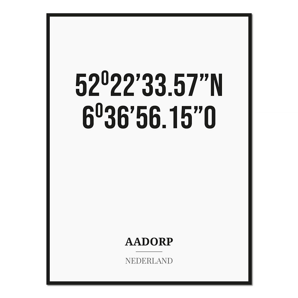Poster/kaart AADORP met coördinaten