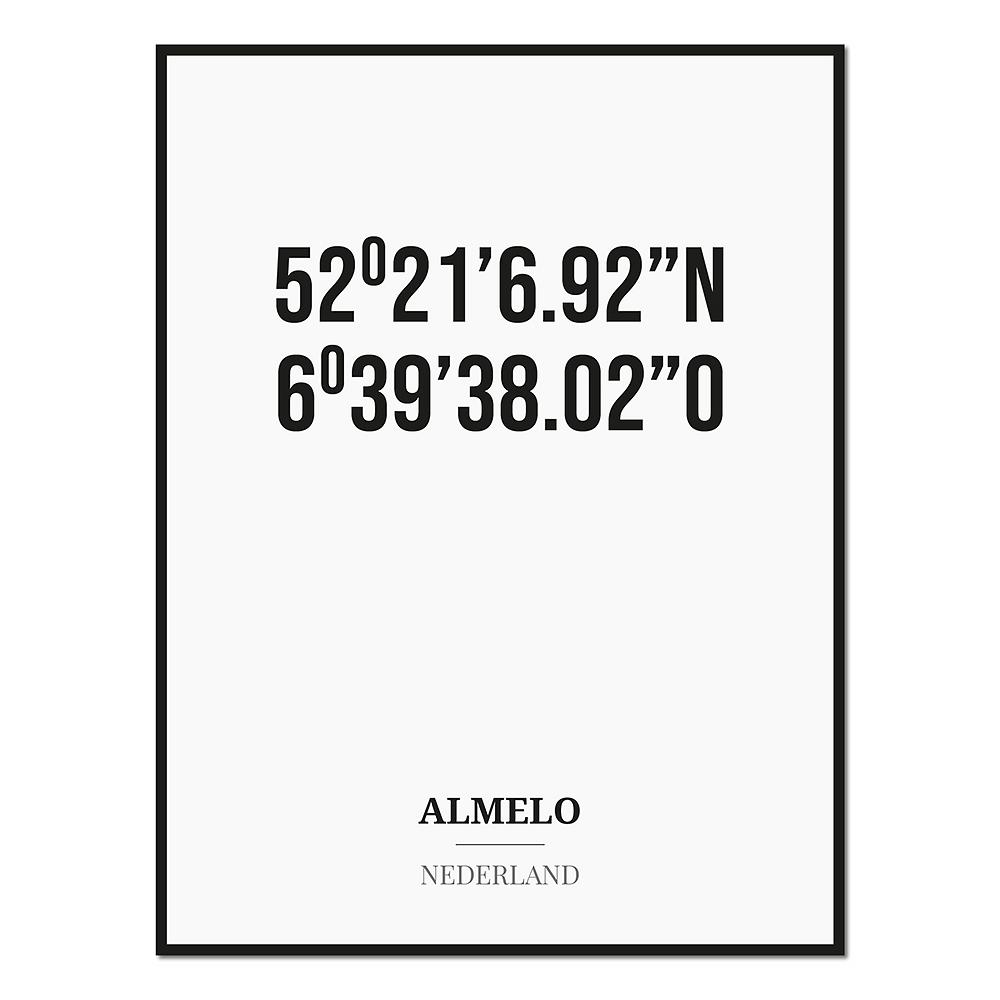 Poster/kaart ALMELO met coördinaten