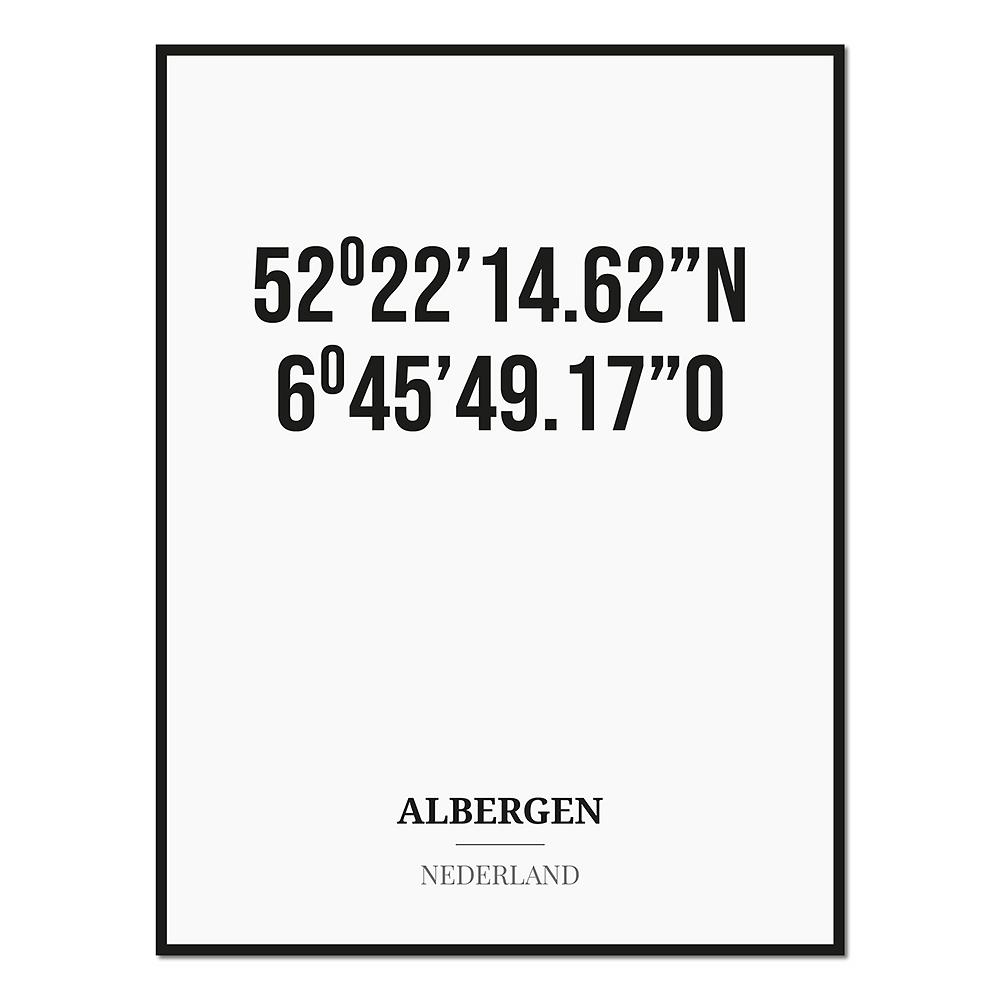 Poster/kaart ALBERGEN met coördinaten