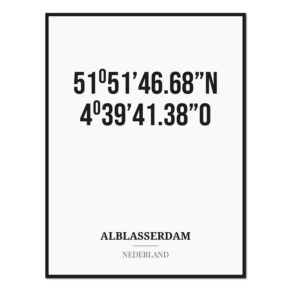Poster/kaart ALBLASSERDAM met coördinaten