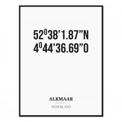 Poster/kaart ALKMAAR met coördinaten