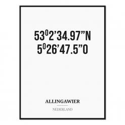 Poster/kaart ALLINGAWIER met coördinaten