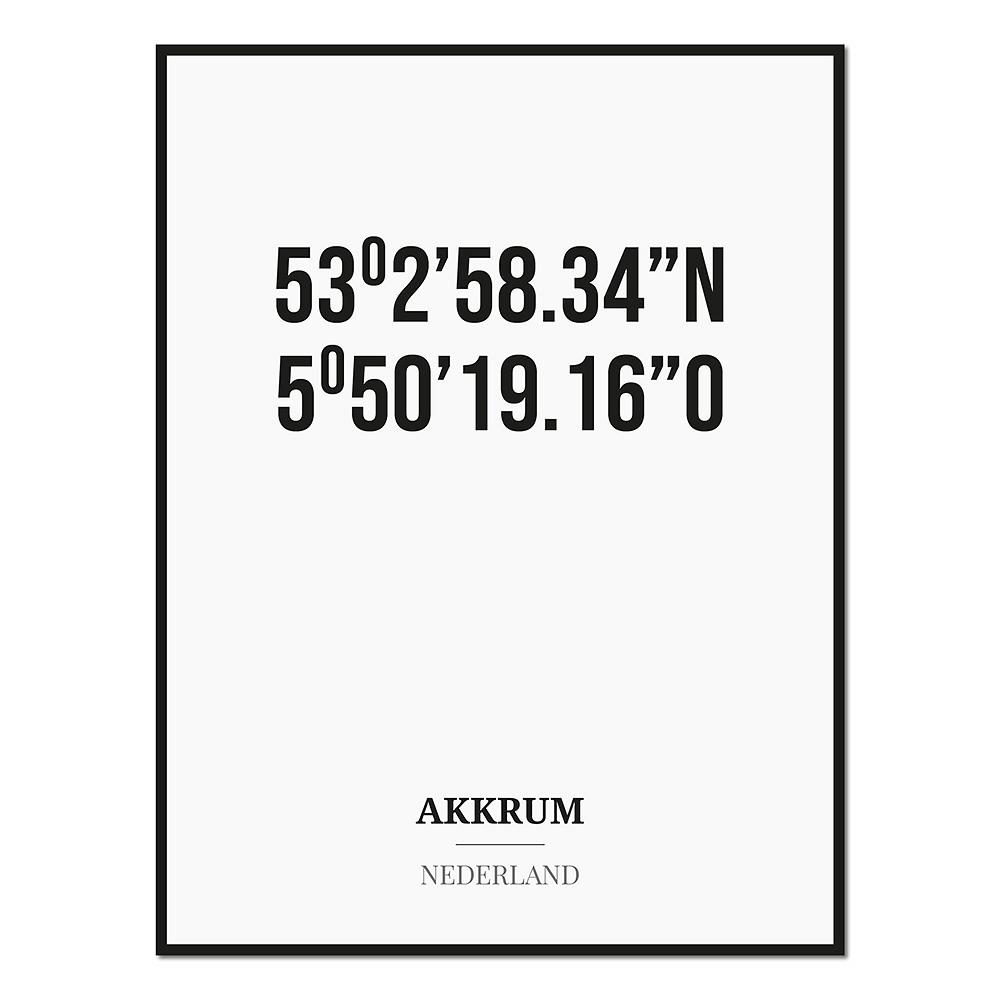 Poster/kaart AKKRUM met coördinaten