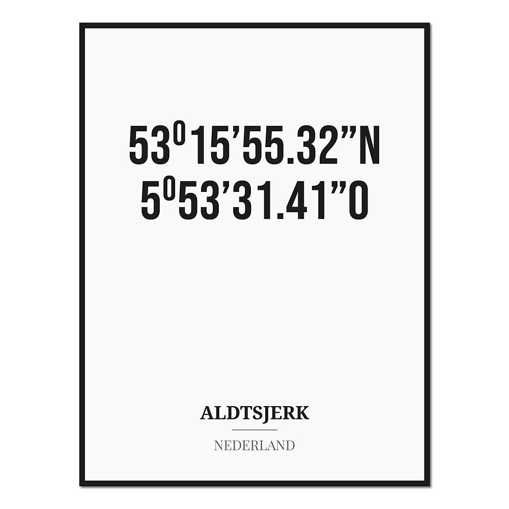 Poster/kaart ALDTSJERK met coördinaten